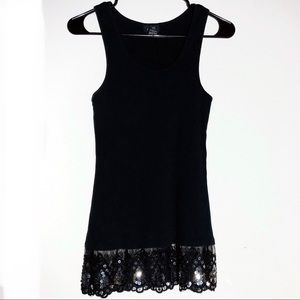 Rue 21 Black Tank With Sequin Lace Trim